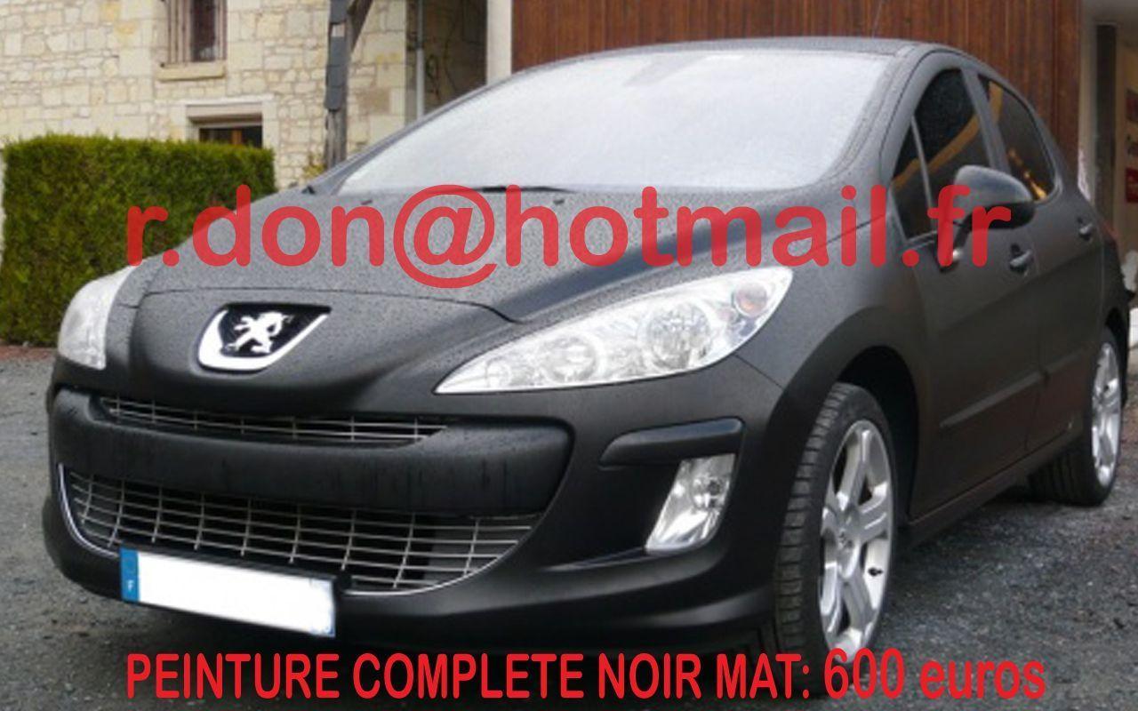 Peugeot 308 film noir mat sur voiture film noir mat auto for Peinture cuisine noir mat